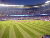 A Major League Baseball Field Under the Lights Royalty Free Stock Image