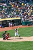 Major League Baseball - golpe de Yoenis Cespedes imagen de archivo