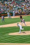 Major League Baseball - jarra Milone de Oakland imagen de archivo libre de regalías