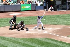 Major League Baseball. Milwaukee Brewers vs Baltimore Orioles. Brewers Braun, #8 at bat, getting at eirst base hit. Brewers 8, Orioles 2. Photo taken on 7-03 Royalty Free Stock Photos