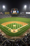 Major League Baseball - Night at the Ballpark. A view of US Cellular Field, home of the Major League Baseball Chicago White Sox, from high above homeplate Stock Photography