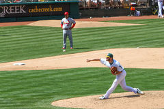 Major League Baseball - Pitcher Cook Throwing Ball Stock Images