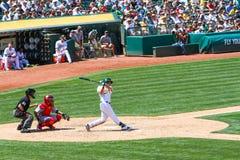Major League Baseball - Seth Smith Swings lizenzfreie stockfotografie