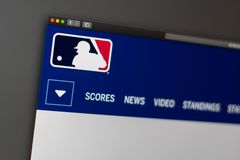 Major League Baseball website homepage. Close up of MLB logo. Miami / USA - 04.20.2019: Major League Baseball website homepage. Close up of MLB logo. Can be stock images