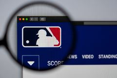 Major League Baseball website homepage. Close up of MLB logo. Miami / USA - 04.20.2019: Major League Baseball website homepage. Close up of MLB logo. Can be royalty free stock photos