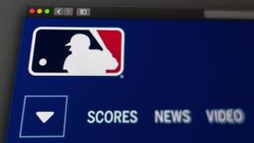 Major League Baseball websitehomepage St?ng sig upp av MLB-logo stock video