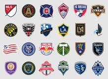Major League Soccer объединяется в команду логотипы иллюстрация штока