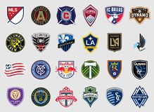 Major League Soccer combina logotipos stock de ilustración