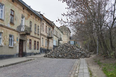 Major paving stone.street repair in Lviv Stock Photo