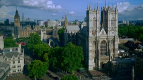 Aerial view of London including Westminster Abbey and Big Ben stock video footage
