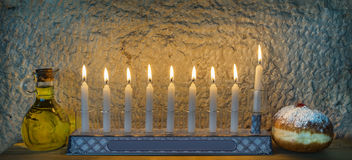 Major traditional Jewish symbols for Hanukkah holiday Stock Photos