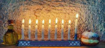 Major traditional Jewish symbols for Hanukkah holiday Royalty Free Stock Photos