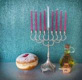 Major traditional Jewish symbols for Hanukkah holiday stock photo