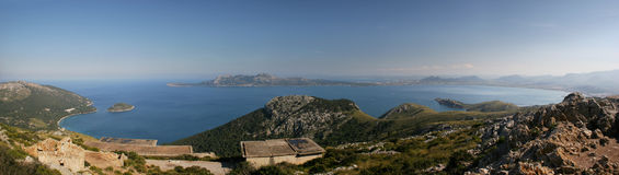 Majorca, Bay of Pollenca, panoramic picture Royalty Free Stock Photos