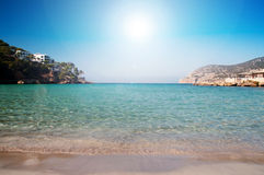 Mallorca beach. Clear waters and sun on Mallorca (Majorca) beach at Camp De Mar Royalty Free Stock Photography