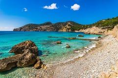 Seaside beach at bay of Camp de Mar, Mallorca island, Spain. Majorca beach in Camp de Mar, beautiful coast on Majorca Spain, Mediterranean sea Stock Images