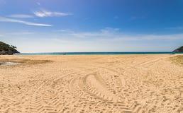 View of the seaside at sand beach in Canyamel, Mallorca island. Majorca beach of Canyamel bay, beautiful seaside, Spain Balearic islands Stock Photos