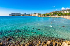 Majorca beach Platja de Tora at Peguera, Spain. Spain Majorca beach of Platja de Tora at Peguera coastline with beautiful clear ocean water, Mediterranean Sea Stock Image