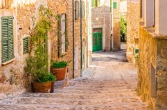 Majorca, beautiful street in the old village of Deia stock images