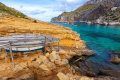 Majorca Cala Figuera beach of Formentor Mallorca. Majorca Cala Figuera beach of Formentor in Mallorca Balearic island of Spain Royalty Free Stock Photo
