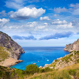 Majorca Cala Figuera beach of Formentor Mallorca. Majorca Cala Figuera beach of Formentor in Mallorca Balearic island of Spain Royalty Free Stock Photos