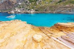 Majorca Cala Figuera beach of Formentor Mallorca. Majorca Cala Figuera beach of Formentor in Mallorca Balearic island of Spain Stock Photos