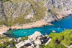 Majorca Cala Figuera strand av Formentor Mallorca Royaltyfri Foto