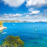 Majorca Cala Fornells beach Paguera Peguera. Calvia in Mallorca at Balearic island of Spain royalty free stock image