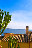 Majorca Cala Fornells beach Paguera Peguera. Calvia in Mallorca at Balearic island of Spain stock photos