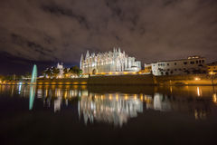 Majorca cathedral in Balearic Islands night scene Royalty Free Stock Photos