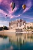 Majorca cathedral and hot air balloon Stock Image