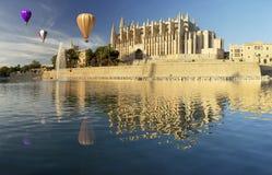 Majorca cathedral and hot air balloon Royalty Free Stock Photos