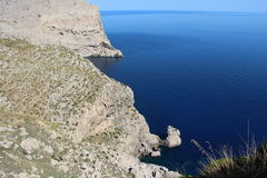 Majorca deep sea and rocky coast view. View taken from Cap Formentor over the sea and coast at Majorca, Spain Stock Image