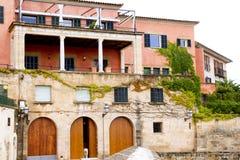 Majorca house facades at Palma de Mallorca. Barrio Calatrava Stock Images