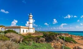 Majorca island lighthouse at Cap de Ses Salines. Beautiful view of the lighthouse at Cap de Ses Salines on Mallorca, Spain Mediterranean Sea, Balearic Islands Royalty Free Stock Image
