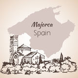 Majorca island sketch. Sketch. Isolated on white background Royalty Free Stock Photos
