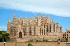 Majorca La seu Cathedral. Side view of Palma de Majorca Cathedral, Balearic Islands, Spain Stock Photos
