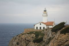 Majorca Lighthouse closeup. Lighthouse on Cap de Capdepera, Majorca, Spain Royalty Free Stock Photo