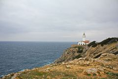 Majorca Lighthouse wide. Lighthouse on Cap de Capdepera, Majorca, Spain Stock Photos