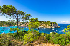 Majorca Mallorca Spain Coast Bay of Portals Vells. Beautiful view of Portals Vells beach and bay with many luxury yachts boats, Majorca idyllic seaside, Spain Royalty Free Stock Images