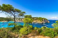 Majorca Mallorca Spain Coast Bay of Portals Vells. Beautiful view of Portals Vells beach and bay with many luxury yachts boats, Majorca idyllic seaside, Spain royalty free stock images
