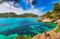 Majorca, malowniczy seascape Canyamel obraz stock