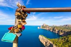 Majorca mirador Formentor Cape Mallorca island. Majorca mirador Formentor Cape in Mallorca island of spain padlocks detail Stock Image