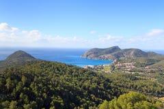 Majorca mountain panorama, Mediterranean Sea and town Camp de Mar near Peguera Royalty Free Stock Image