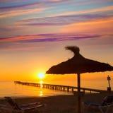 Majorca Muro beach sunrise Alcudia Bay Mallorca. Majorca Muro beach sunrise in Alcudia Bay Mallorca at Balearic Islands of Spain Stock Photos
