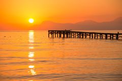 Majorca Muro beach sunrise Alcudia Bay Mallorca Stock Photos