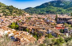 Majorca, overview of old mediterranean village of Esporles. Panoramic view from above of the mediterranean small town of Esporles, Mallorca Spain, Balearic royalty free stock photography