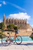 Majorca Palma Cathedral Seu and bicycle Mallorca Stock Photos