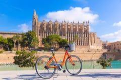 Majorca Palma Cathedral Seu and bicycle Mallorca Stock Image