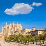 Majorca Palma Cathedral Seu Seo of Mallorca. At Balearic Islands Spain Stock Photos